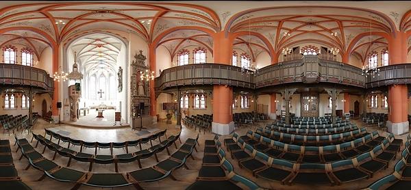 Kirner Fototage - Panoramaaufnahme der evangelischen Kirche.
